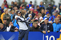 Nelly Korda of Team USA on the 10th tee during Day 2 Foursomes at the Solheim Cup 2019, Gleneagles Golf CLub, Auchterarder, Perthshire, Scotland. 14/09/2019.<br /> Picture Thos Caffrey / Golffile.ie<br /> <br /> All photo usage must carry mandatory copyright credit (© Golffile | Thos Caffrey)
