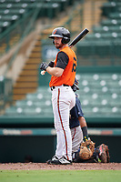 GCL Orioles Trevor Kehe (16) at bat during a Gulf Coast League game against the GCL Braves on August 5, 2019 at Ed Smith Stadium in Sarasota, Florida.  GCL Orioles defeated the GCL Braves 4-3 in the first game of a doubleheader.  (Mike Janes/Four Seam Images)