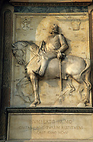 Humberto Primo on his horse sculpted at the entrance gate of Castello Sforzesco, Milan, Italy.