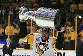 June 11th 2017, Nashville, TN, USA;  Pittsburgh Penguins center Sidney Crosby (87) skates with the Stanley Cup following Game 6 of the Stanley Cup Final between the Nashville Predators and the Pittsburgh Penguins, held on June 11, 2017, at Bridgestone Arena in Nashville, Tennessee.