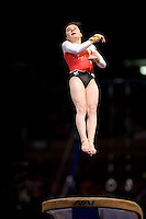 3/1/08 - Photo by John Cheng - Joeline Mobius of Germany performs on vault at the Tyson American Cup in Madison Square GardenPhoto by John Cheng - Tyson American Cup 2008 in Madison Square Garden, New York.Mobius