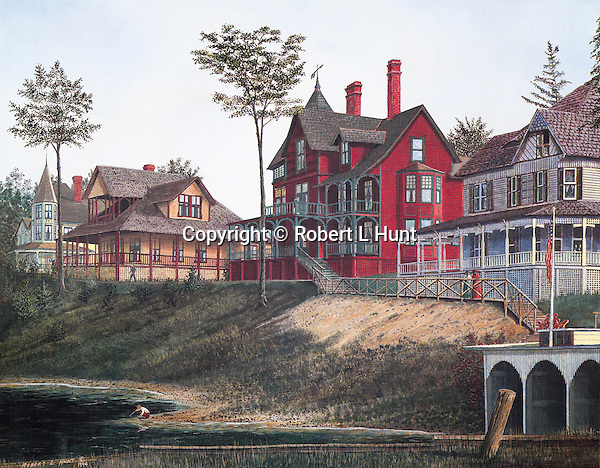 "Victorian houses of the wealthy South Fork Fishing and Hunting Club along Lake Conemaugh near Johnstown PA, circa 1888.  Fine art lithographs available, 13"" x 16.75""."