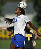 Imani Lipscomb #23 of Kellenberg makes a header during a non-league varsity girls soccer game against host Wantagh High School on Saturday, Sept. 29, 2018. Kellenberg won by a score of 3-0.
