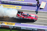 Apr. 28, 2012; Baytown, TX, USA: Aerial view of NHRA funny car driver Cruz Pedregon during qualifying for the Spring Nationals at Royal Purple Raceway. Mandatory Credit: Mark J. Rebilas-