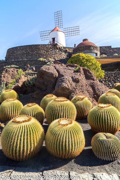 Windmill Jardin de Cactus designed by César Manrique, Guatiza. Lanzarote, Canary Islands, Spain.