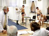 Medical examinations of young Polish men, required before the army draft.<br /> This year's draft is the last one as Polish army is turning professional.<br /> Piaseczno, central Poland, March 2008<br /> (Photo by Piotr Malecki / Napo Images)<br /> <br /> Komisja lekarska w trakcie badan mlodych mezczyzn pod katem ich przydatnosci do sluzby wojskowej.<br /> Poniewaz Wojsko Polskie ma byc zawodowe, tegoroczny pobor w dotychczasowej formie bedzie najprawdopodobniej poborem ostatnim.<br /> Piaseczno, Marzec 2008<br /> Fot: Piotr Malecki / Napo Images