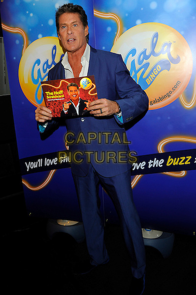 David Hasselhoff .at launch of GalaBingo.com's new scratchcard, Vanilla, London, England, UK, 8th February 2013..full length holding the Hoff  suit blue jacket white shirt .CAP/CJ.©Chris Joseph/Capital Pictures.