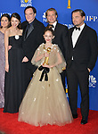 Margaret Qualley, Quentin Tarantino, Brad Pitt, Julia Butters, and Leonardo DiCaprio 145 poses in the press room with awards at the 77th Annual Golden Globe Awards at The Beverly Hilton Hotel on January 05, 2020 in Beverly Hills, California.