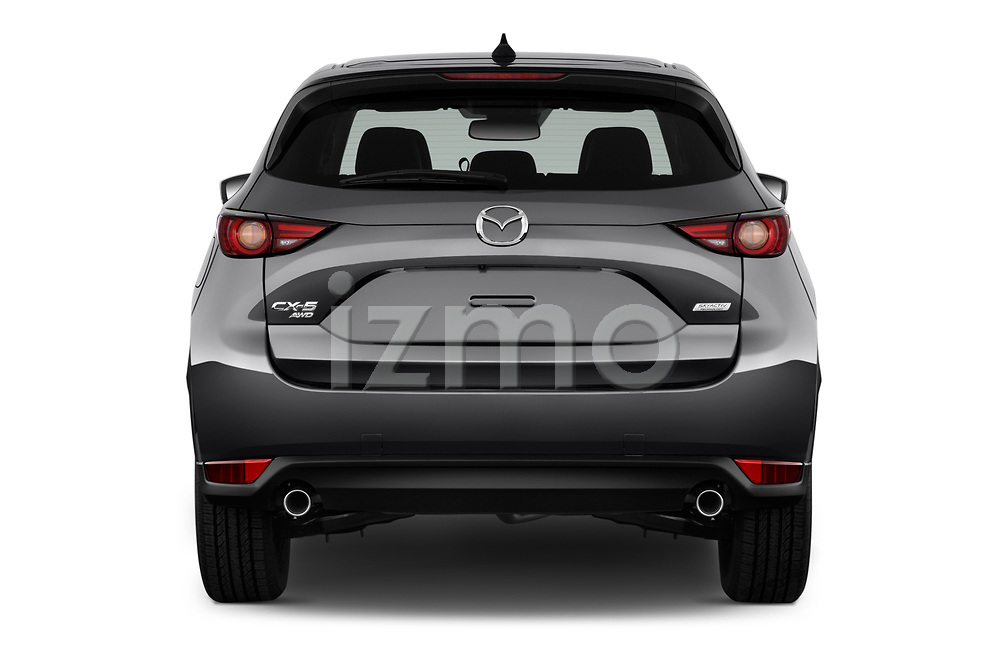 Straight rear view of 2017 Mazda CX-5 Grand-Touring 5 Door SUV Rear View  stock images