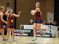 05.10.2012 Southland's Hayley Crofts in action during the netball match between Southland and Counties Manukau at the Lion Foundation Netball Champs in Tauranga. Mandatory Photo Credit ©Michael Bradley.