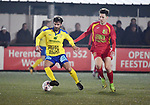 2018-03-03 / Voetbal / Seizoen 2017-2018 / Ternesse - Leopoldsburg / Yannick Schots (l. Ternesse) met Kim Bosmans<br /> <br /> ,Foto: Mpics.be