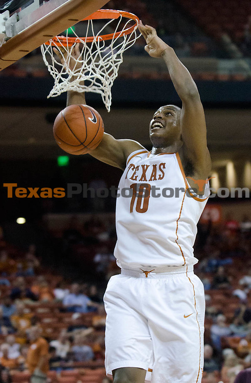 Dec 15, 2012; Austin, TX, USA; Texas Longhorns forward Jonathan Holmes (10) dunks against the Texas State Bobcats during the second half at the Frank Erwin Special Events Center. Texas beat Texas State 75-63. Mandatory Credit: Brendan Maloney-USA TODAY Sports