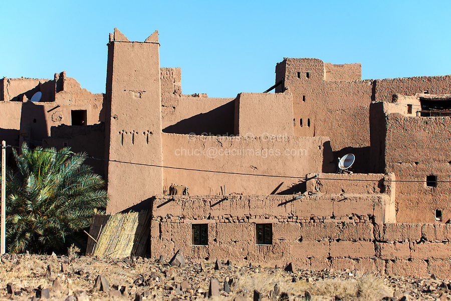 Draa River Valley Scene, Morocco.  Village Ksar (Kasbah) with Satellite Dishes.