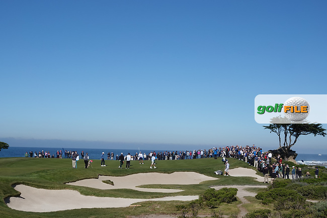 A general view of the 15th green at Monterey Peninsula during the second round of the AT&T Pro-Am, Pebble Beach, Monterey, California, USA. 06/02/2020<br /> Picture: Golffile | Phil Inglis<br /> <br /> <br /> All photo usage must carry mandatory copyright credit (© Golffile | Phil Inglis)