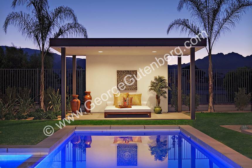 Stock image of residential swimming pool cabana