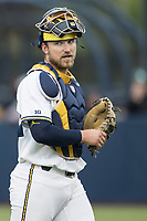 Michigan Wolverines catcher Harrison Wenson (7) in action against the Michigan State Spartans on May 19, 2017 at Ray Fisher Stadium in Ann Arbor, Michigan. Michigan defeated Michigan State 11-6. (Andrew Woolley/Four Seam Images)