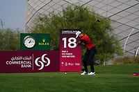 Niklas Lemke (SWE) on the 18th during Round 1 of the Commercial Bank Qatar Masters 2020 at the Education City Golf Club, Doha, Qatar . 05/03/2020<br /> Picture: Golffile | Thos Caffrey<br /> <br /> <br /> All photo usage must carry mandatory copyright credit (© Golffile | Thos Caffrey)
