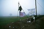 Baylin in his tripod.  Newbury road protest  1996