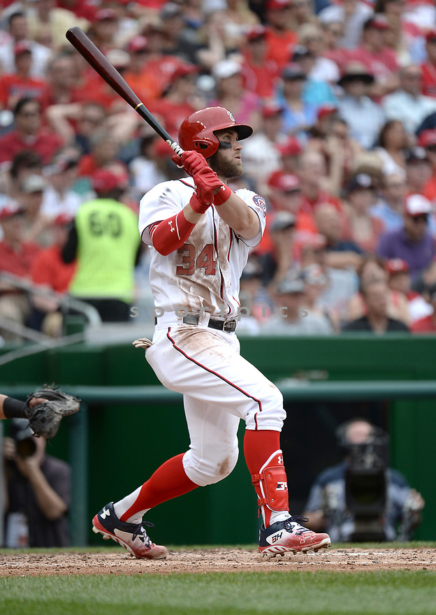 Washington Nationals Bryce Harper (34) during a game against the Cincinnati Reds on July 3, 2016 at Nationals Park in Washington DC. The Nationals beat the Reds 12-1.