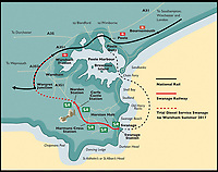 BNPS.co.uk (01202 558833)<br /> Pic: AndrewWright/BNPS<br /> <br /> A map showing the newly opened line.<br /> <br /> A plucky seaside railway that refused to die is finally rejoing the rail network today after a 45 year fight to reverse the Beeching axe.<br /> <br /> At 10.23 sharp a train will once again leave Swanage in Dorset to rejoin the main network at Wareham, thanks to an army of volunteers who have spent 45 years painstakingly rebuilding their line. 