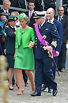 Queen Mathilde of Belgium and King Philippe - Filip of Belgium Prince Emmanuel, Crown Princess Elisabeth, Prince Gabriel and Princess Eleonore , Prince Lorenz of Belgium, Princess Astrid of Belgium, Princess Claire of Belgium and Prince Laurent of Belgium pictured during the military parade on the Belgian National Day pictured during the military parade on the Belgian National Day, , <br /> Brussels, 21 July 2015, Belgium<br /> Pics: Princess Claire of Belgium and Prince Laurent of Belgium