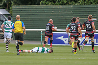 Dragons score a try during the Friendly match between Ealing Trailfinders and Dragons  at Castle Bar , West Ealing , England  on 11 August 2018. Photo by David Horn / PRiME Media Images.