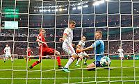 17.04.2018, Football DFB Pokal 2017/2018, semi final , Bayer Leverkusen - FC Bayern Muenchen, in BayArena Leverkusen. goal of  Arjen Robben (FC Bayern Muenchen)  1:5, v.li: Sven Bender (Leverkusen), Thomas Mueller (FC Bayern Muenchen), Arjen Robben (FC Bayern Muenchen), goalkeeper Bernd Leno (Leverkusen). *** Local Caption *** © pixathlon<br /> <br /> Contact: +49-40-22 63 02 60 , info@pixathlon.de