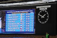 SCHAATSEN: BERLIJN: Sportforum Berlin, 05-03-2016, WK Allround, Results Ladies 500m, Misaka Oshigiri (JPN), Miho Takagi (JPN), Ayaka Kikuchi (JPN), ©foto Martin de Jong