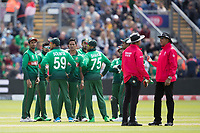 The Bangladesh players get together following the dismissal of Joe Rootduring England vs Bangladesh, ICC World Cup Cricket at Sophia Gardens Cardiff on 8th June 2019