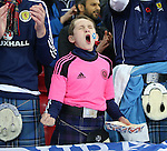 A young Scotland fan sings his anthem during the FIFA World Cup Qualifying Group F match at Wembley Stadium, London. Picture date: November 11th, 2016. Pic David Klein/Sportimage