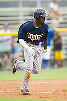 Nick Gordon (9) of the Elizabethton Twins hustles down the first base line against the Burlington Royals at Burlington Athletic Park on June 25, 2014 in Burlington, North Carolina.  The Twins defeated the Royals 8-0. (Brian Westerholt/Four Seam Images)