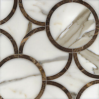 Montgomery Medium, a stone water jet mosaic, shown in Calacatta Tia and Emperador Dark, is part of the Ann Sacks Beau Monde collection sold exclusively at www.annsacks.com