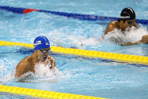 (L to R) Kosuke Kitajima (JPN), Hiromasa Sakimoto (JPN), ..APRIL 9, 2011 - Swimming : ..2011 International Swimming Competitions Selection Trial, Men's 100m Breaststroke Final ..at ToBiO Furuhashi Hironoshin Memorial Hamamatsu City Swimming Pool, Shizuoka, Japan. ..(Photo by Daiju Kitamura/AFLO SPORT) [1045]