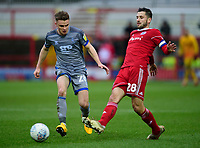 Lincoln City's Jake Hesketh vies for possession with Accrington Stanley's Seamus Conneely<br /> <br /> Photographer Andrew Vaughan/CameraSport<br /> <br /> The EFL Sky Bet League One - Accrington Stanley v Lincoln City - Saturday 15th February 2020 - Crown Ground - Accrington<br /> <br /> World Copyright © 2020 CameraSport. All rights reserved. 43 Linden Ave. Countesthorpe. Leicester. England. LE8 5PG - Tel: +44 (0) 116 277 4147 - admin@camerasport.com - www.camerasport.com