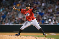 Indianapolis Indians relief pitcher Yhonathan Barrios (34) in action against the Charlotte Knights at BB&T BallPark on June 20, 2015 in Charlotte, North Carolina.  The Knights defeated the Indians 6-5 in 12 innings.  (Brian Westerholt/Four Seam Images)