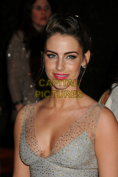 Jessica Lowndes.20th Annual Elton John Academy Awards Viewing Party held at West Hollywood Park, West Hollywood, California, USA..February 26th, 2012.oscars headshot portrait blue grey gray sheer beads beaded pink lipstick hair up.CAP/ADM/BP.©Byron Purvis/AdMedia/Capital Pictures.