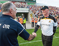 28th June 2014; Galway and Kilkenny managers Anthony Cunningham and Brian Cody shake hands at the end of the game. GAA Hurling Senior Championship Semi-Final replay Kilkenny v Galway, O'Connor Park, Tullamore. Picture credit: Tommy Grealy/actionshots.ie.