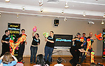 John Tartaglia and cast at John Tartaglia's ImaginOcean, a new family undersea musical adventure on April 1, 2010 at Children's Museum of Manhattan, New York City, New York. John Tartaglia's ImaginOcean is an interactive family show - a magical, musical undersea adventure for kids of all ages. Tank, Bubbles, and Dorsel are three best friends who just happen to be fish, and they're about to set out on a remarkable journey of discovery. And it all starts with a treasure map. As they swim off in search of clues, they'll sing, they'll dance, and they'll make new friends -- including everyone in the audience. Ultimately, they discover the greatest treasure of all -- friendship. Jam-packed with original music ranging from swing to R&B to Big Band, John Tartaglia's ImaginOcean is a blast rom the first big splash to the last wave goodbye. (Photo by Sue Coflin/Max Photos)