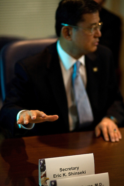 October 23, 2009. Durham, North Carolina.. Eric Shinseki, Secretary of Veterans Affairs for the Obama administration, visited Durham to meet with officials and veterans at the VA hospital, as well as to attend several events and meetings on the Duke University campus.. Sec. Shinseki, center,  met with members of the VA hospital staff and administration to discuss the status and goals of the hospital.