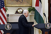 President Mahmoud Abbas of the Palestinian Authority leaves after giving  a joint statement with United States President Donald J. Trump in the Roosevelt Room  of the White House in Washington, DC, on May 3, 2017. <br /> Credit: Olivier Douliery / Pool via CNP