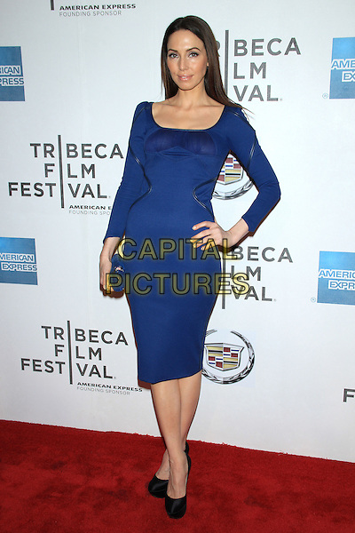 "Whitney Cummings.The 2012 Tribeca Film Festival World Premiere of ""Lola Versus"" at the Tribeca Performing Arts Center, New York, NY, USA..April 24th, 2012.full length dress hand on hip blue.CAP/LNC/TOM.©LNC/Capital Pictures."