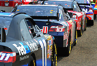 May 31, 2008; Dover, DE, USA; Nascar Sprint Cup Series drivers wait in line to go on track during practice for the Best Buy 400 at the Dover International Speedway. Mandatory Credit: Mark J. Rebilas-US PRESSWIRE