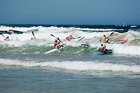 The start of a surf ski race at Queenscliff during the annual Queenscliff surf carnival.