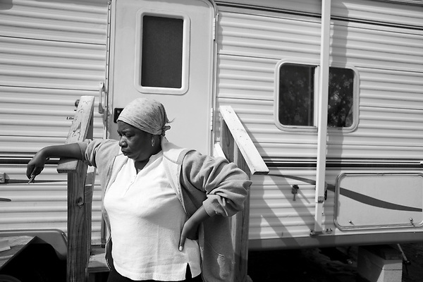 February 02, 2008. Baker, LA.. Renaissance Village trailer park for Louisiana residents displaced by Hurricanes Katrina and Rita. Over 2 years after the storms, hundreds of residents still live in the temporary trailer park, as they search for ways to move out and reestablish their lives.. Thelma Howard has been at Baker since the beginning and is unable to find work. She says she has no where to go and hopes that she will not be forced out of the park. FEMA has said they will close the park in May.
