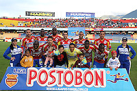 PASTO -COLOMBIA, 13-09-2014. Jugadores del  Deportivo Pasto posan para una foto de grupo previo al encuentro con el Deportivo Cali por la fecha 9 Liga Postobón II 2014 jugado en el estadio La Libertad de Pasto./ Players of Deportivo Pasto pose to photo group prior the match against Deportivo Cali for the 9th date of Postobon  League II 2014 played at La Libertad stadium in Pasto. Photo: VizzorImage / Leonardo Castro / STR