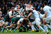 The front rows pop up at a scrum. European Rugby Champions Cup semi final, between Leicester Tigers and Racing 92 on April 24, 2016 at The City Ground in Nottingham, England. Photo by: Patrick Khachfe / JMP