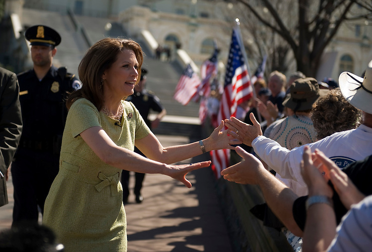 Rep. Michele Bachmann, R-Minn., arrives at an anti health care reform rally on the west lawn of the Capitol, March 20, 2010.