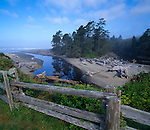 Olympic National Park, WA  <br /> Weathered fence overlooking the mouth of Kalaloch Creek near Kalaloch Lodge