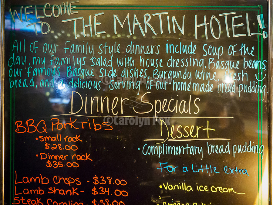 Welcome to the Martin Hotel! menu board and prices for dinner, Winnemucca, Neva