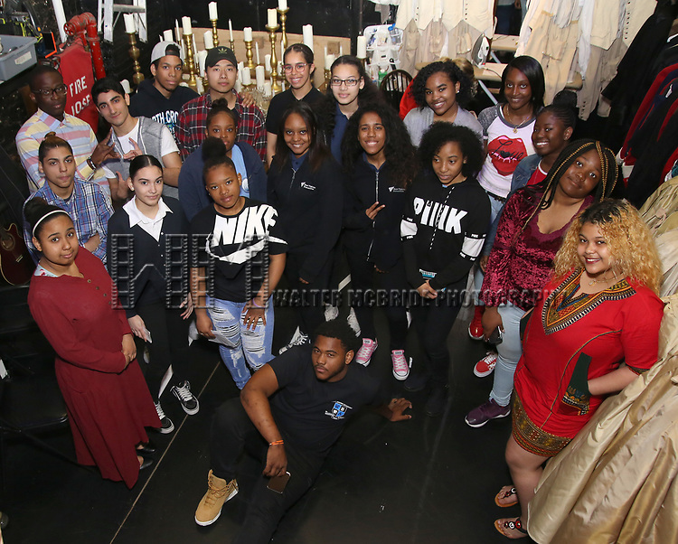 """High School Student performers during a Q & A before The Rockefeller Foundation and The Gilder Lehrman Institute of American History sponsored High School student #eduHam matinee performance of """"Hamilton"""" at the Richard Rodgers Theatre on May 9, 2018 in New York City."""